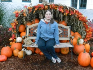 Yours truly amongst the pumpkins.